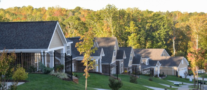 A row of Epcon homes down a gentle incline with a forest backdrop.