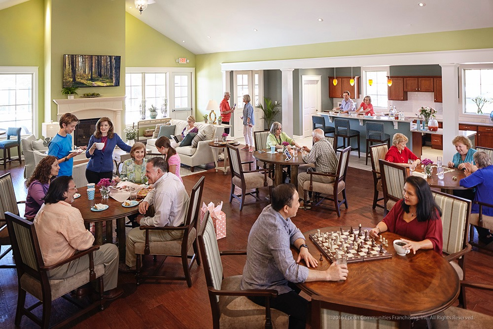 Clubhouse with people playing games and throwing a party