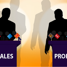 """Two male silhouettes at two podiums marked with the text """"Sales"""" and """"Profit"""""""