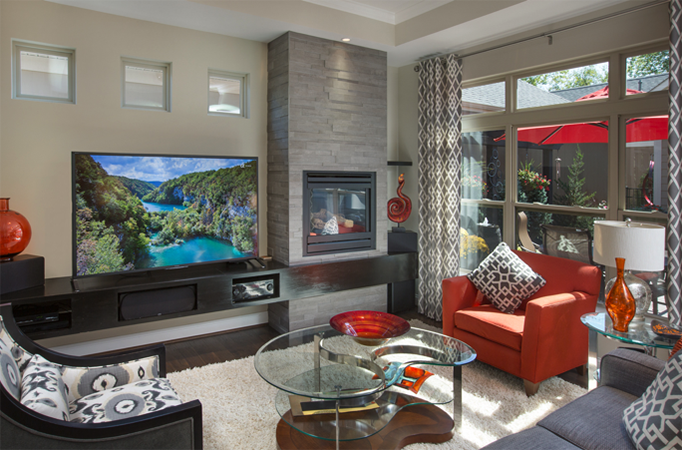 A high quality photo of a staged living room.