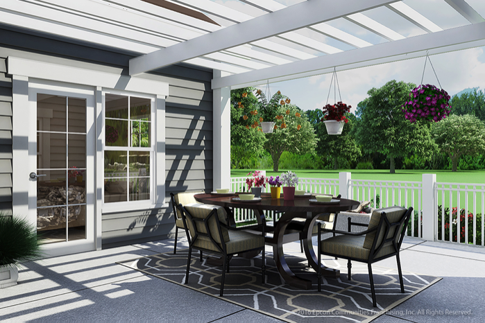 A digital rendering of a private outdoor courtyard of an Epcon home.