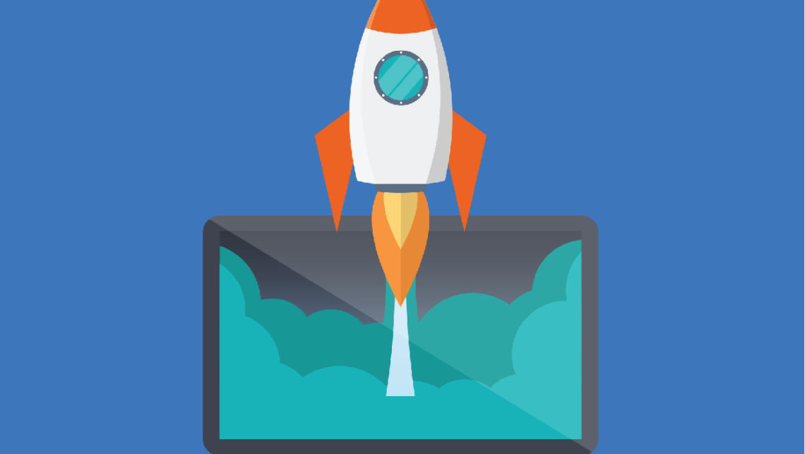 Illustration of rocket ship blasting out of a laptop screen
